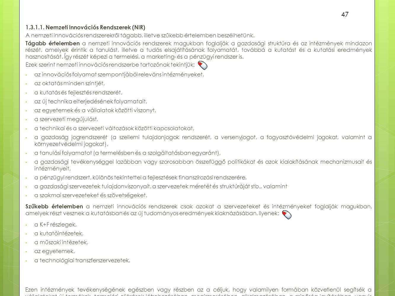 1.3.1.1. Nemzeti Innovációs Rendszerek (NIR)