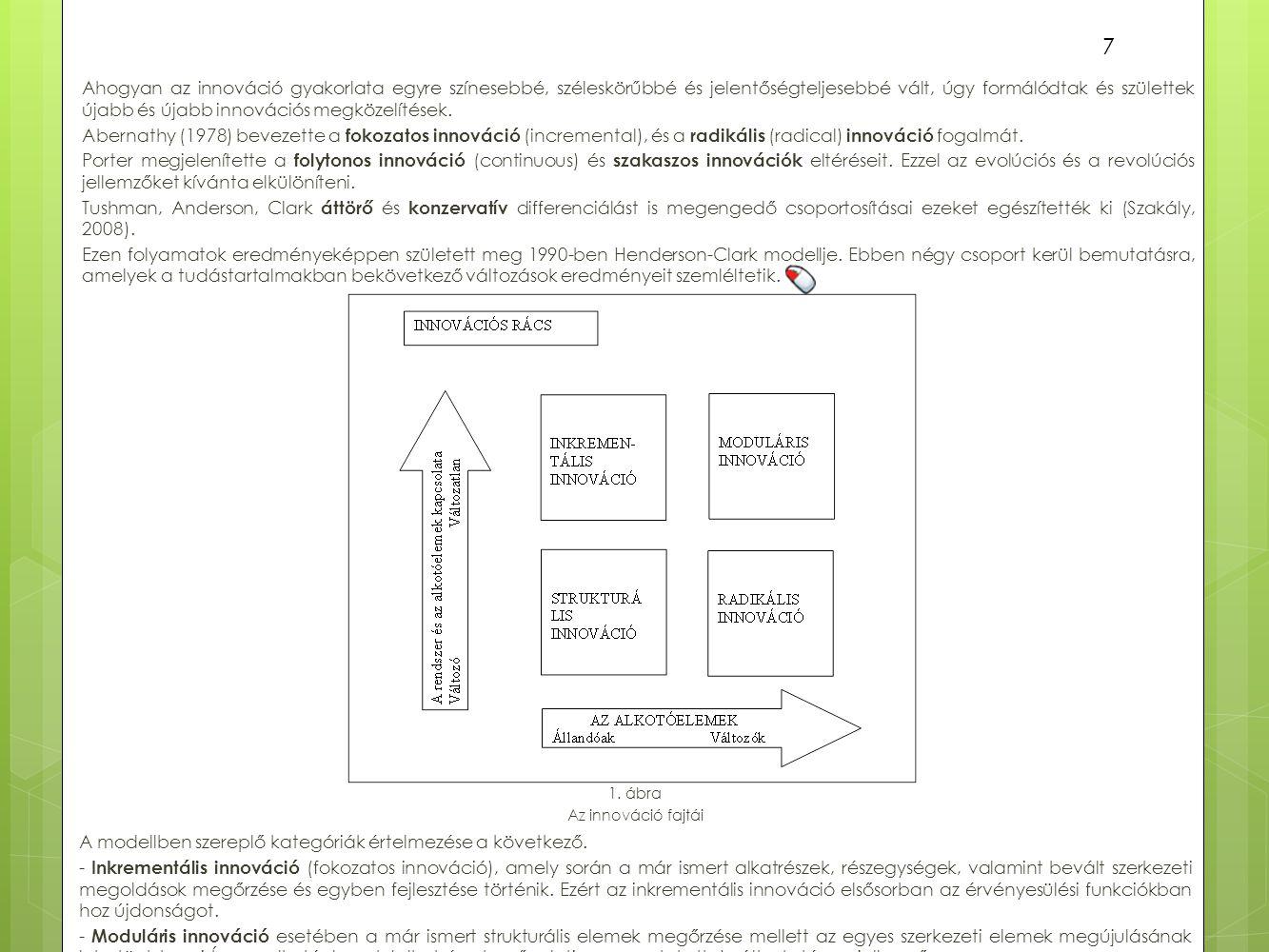 A modellben szereplő kategóriák értelmezése a következő.