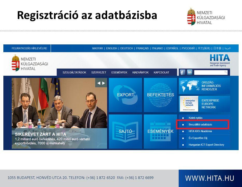 Regisztráció az adatbázisba