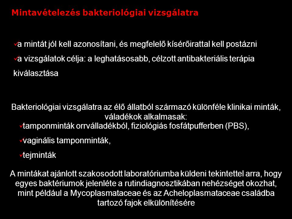 Mintavételezés bakteriológiai vizsgálatra