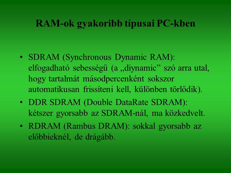 RAM-ok gyakoribb típusai PC-kben