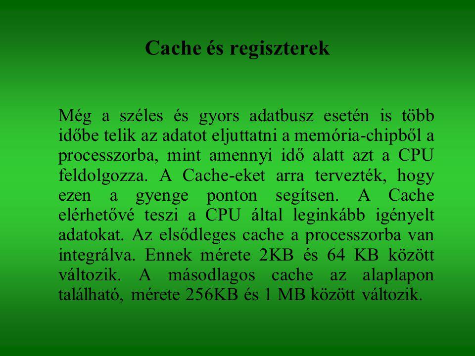 Cache és regiszterek