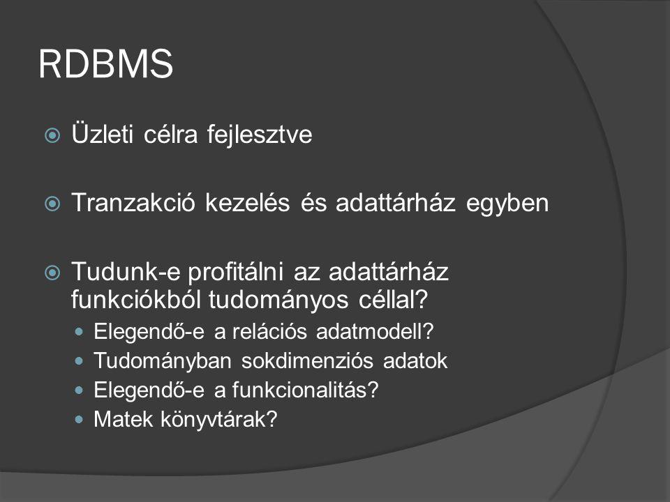 RDBMS Üzleti célra fejlesztve Tranzakció kezelés és adattárház egyben