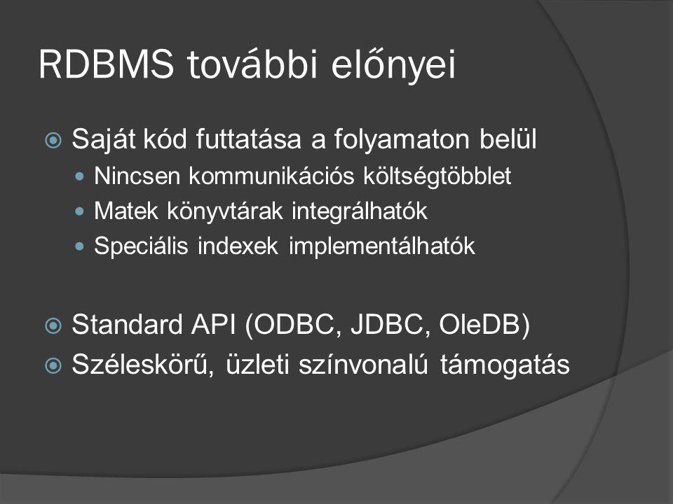 RDBMS további előnyei Saját kód futtatása a folyamaton belül