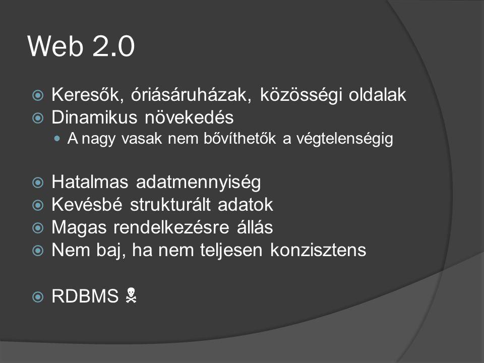 Web 2.0 Keresők, óriásáruházak, közösségi oldalak Dinamikus növekedés