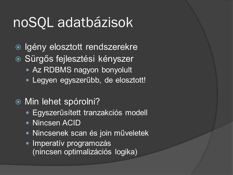 noSQL adatbázisok Igény elosztott rendszerekre
