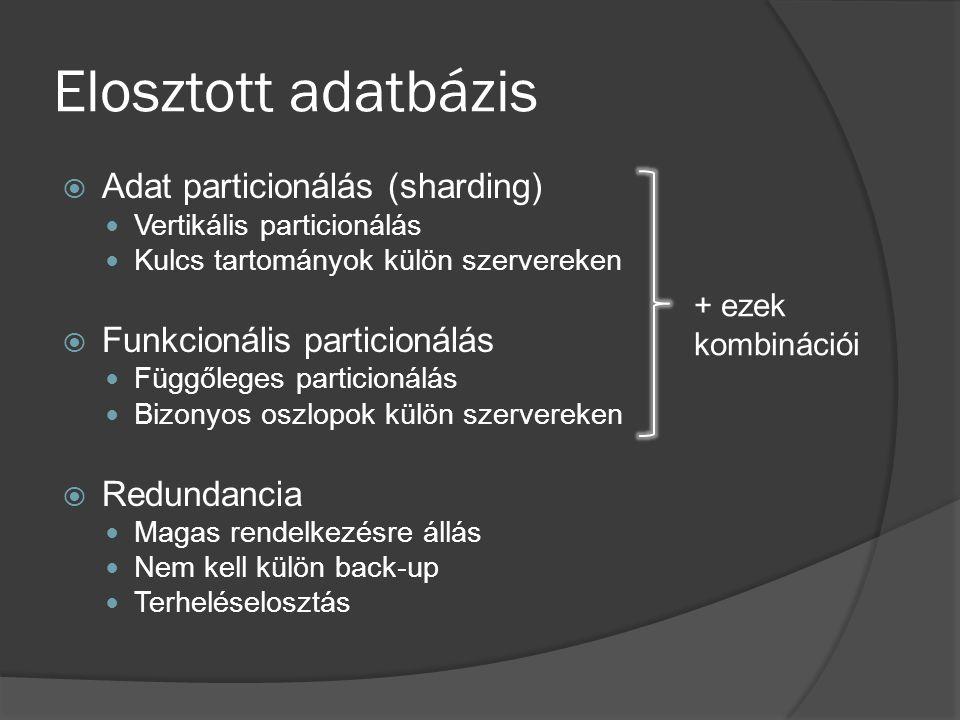 Elosztott adatbázis Adat particionálás (sharding)