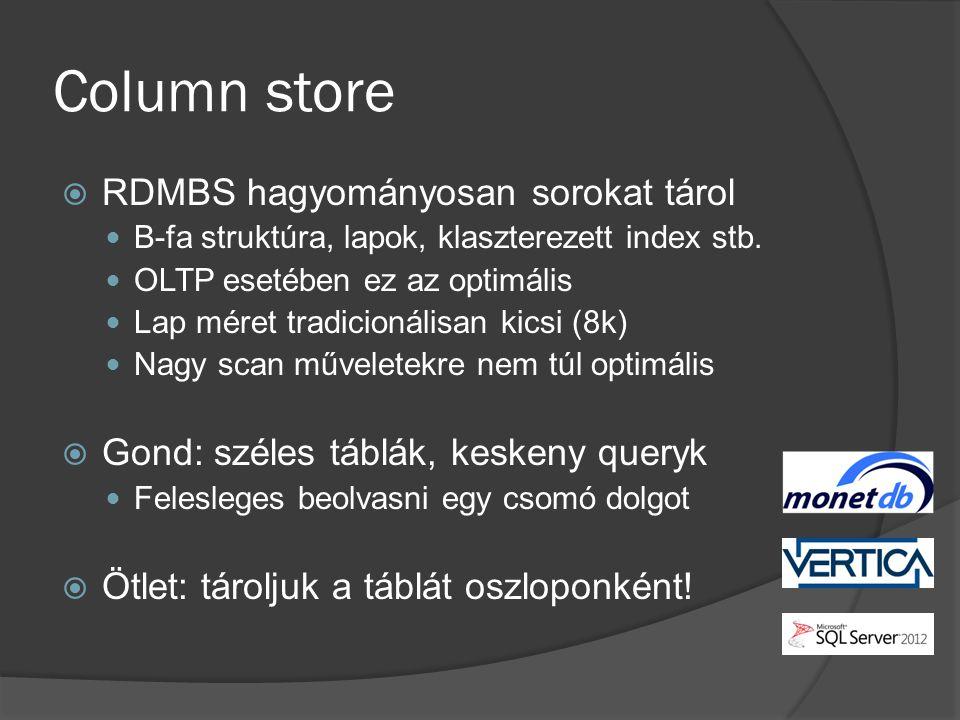 Column store RDMBS hagyományosan sorokat tárol