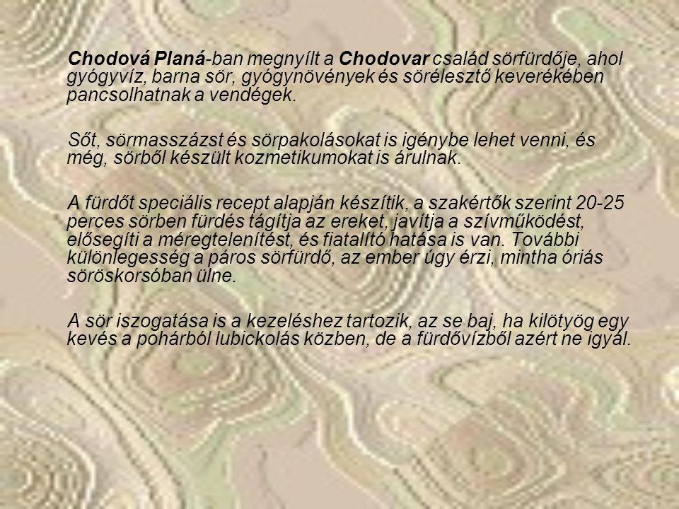 Chodová Planá-ban megnyílt a Chodovar család sörfürdője, ahol gyógyvíz, barna sör, gyógynövények és sörélesztő keverékében pancsolhatnak a vendégek.