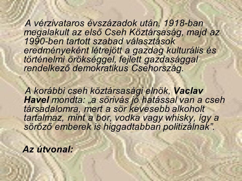 A vérzivataros évszázadok után, 1918-ban megalakult az első Cseh Köztársaság, majd az 1990-ben tartott szabad választások eredményeként létrejött a gazdag kulturális és történelmi örökséggel, fejlett gazdasággal rendelkező demokratikus Csehország.