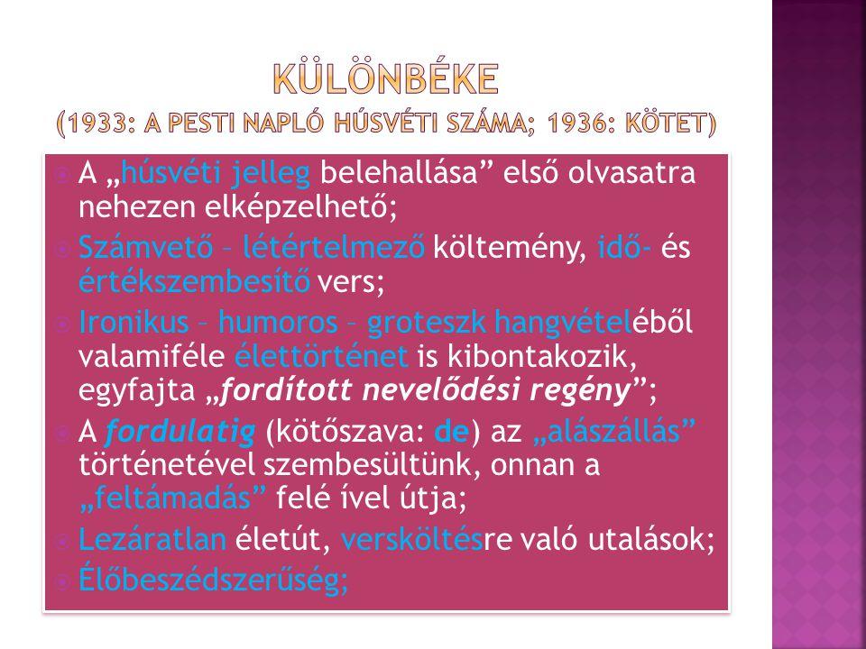 KÜLÖNBÉKE (1933: A Pesti napló húsvéti száma; 1936: kötet)