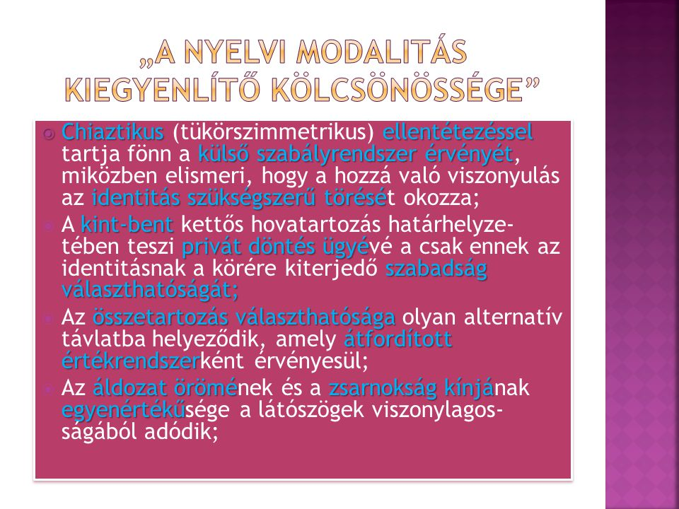 """""""A nyelvi modalitás kiegyenlÍtő kölcsönössége"""