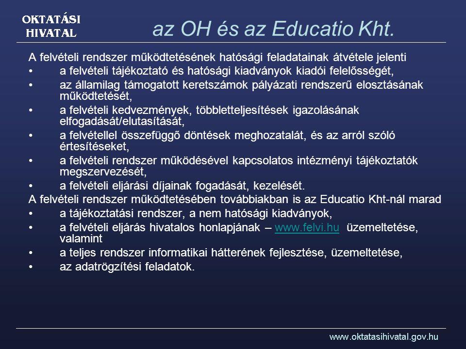 az OH és az Educatio Kht. A felvételi rendszer működtetésének hatósági feladatainak átvétele jelenti.