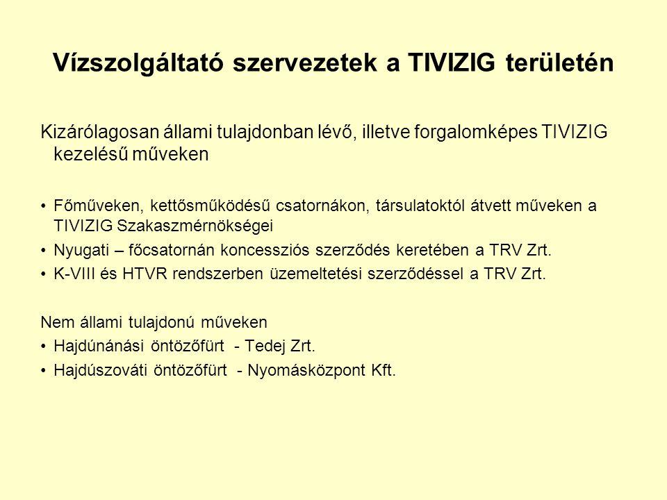 Vízszolgáltató szervezetek a TIVIZIG területén