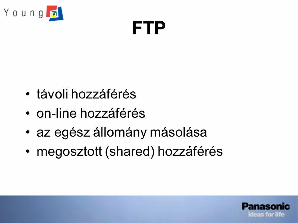 FTP távoli hozzáférés on-line hozzáférés az egész állomány másolása