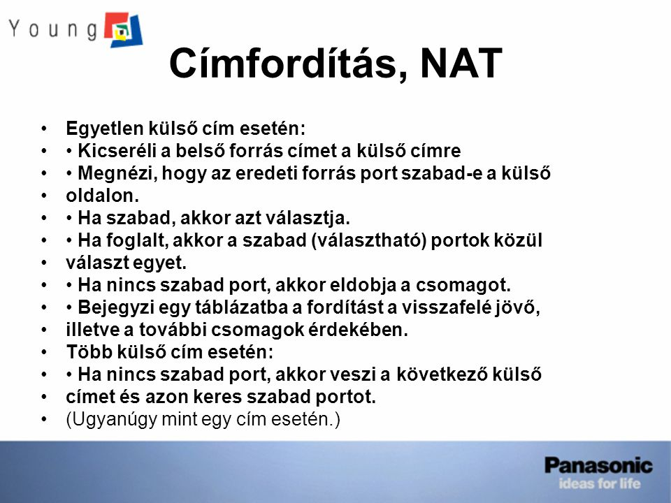 Címfordítás, NAT Egyetlen külső cím esetén: