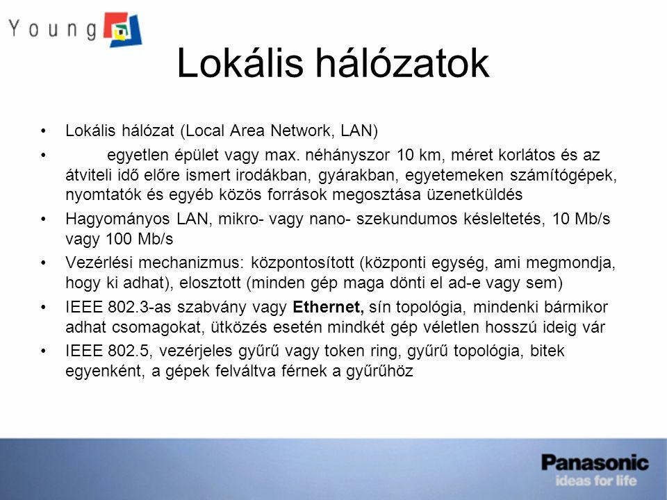 Lokális hálózatok Lokális hálózat (Local Area Network, LAN)