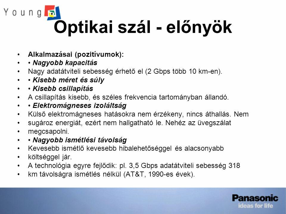 Optikai szál - előnyök Alkalmazásai (pozitívumok): • Nagyobb kapacitás