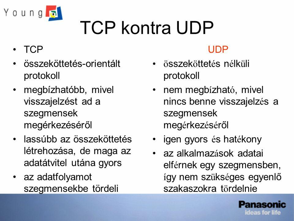 TCP kontra UDP TCP összeköttetés-orientált protokoll