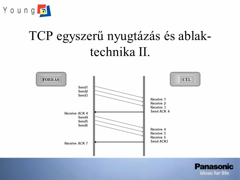 TCP egyszerű nyugtázás és ablak-technika II.