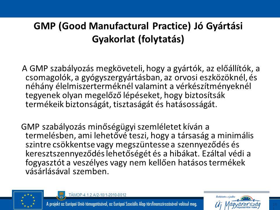 GMP (Good Manufactural Practice) Jó Gyártási Gyakorlat (folytatás)