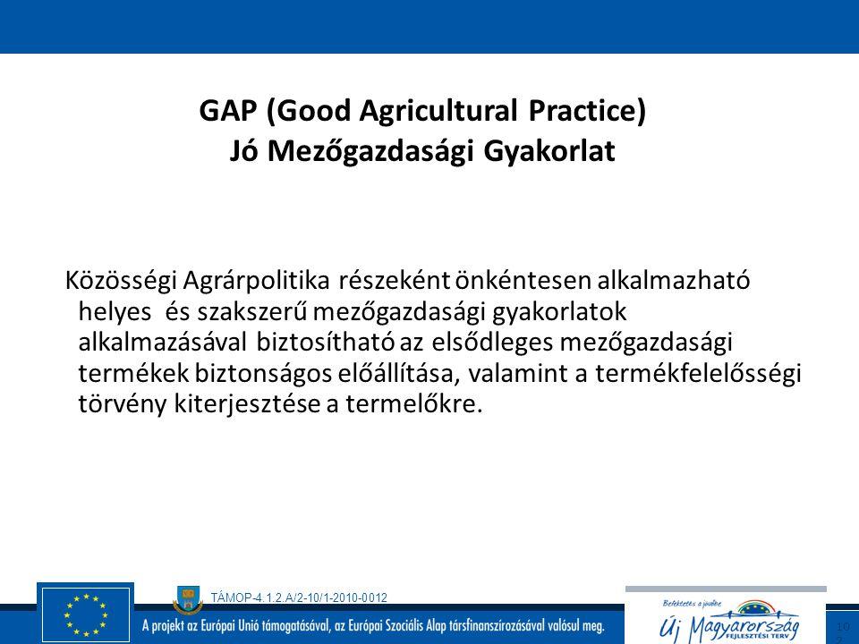 GAP (Good Agricultural Practice) Jó Mezőgazdasági Gyakorlat