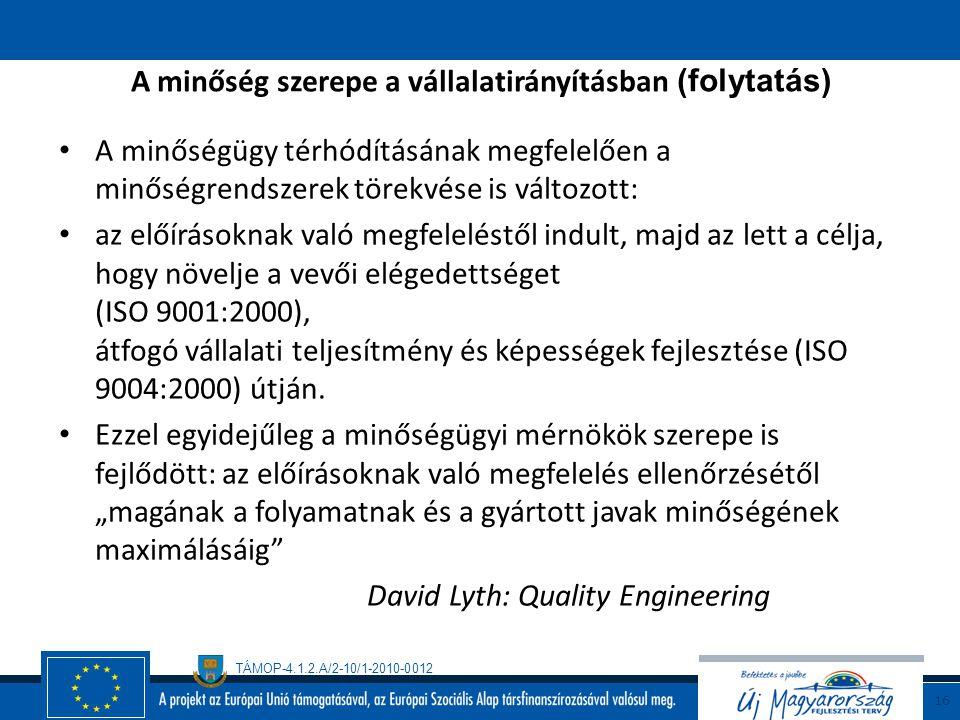 A minőség szerepe a vállalatirányításban (folytatás)
