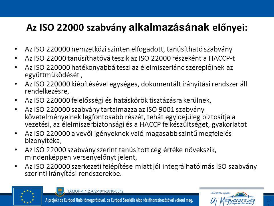 Az ISO 22000 szabvány alkalmazásának előnyei: