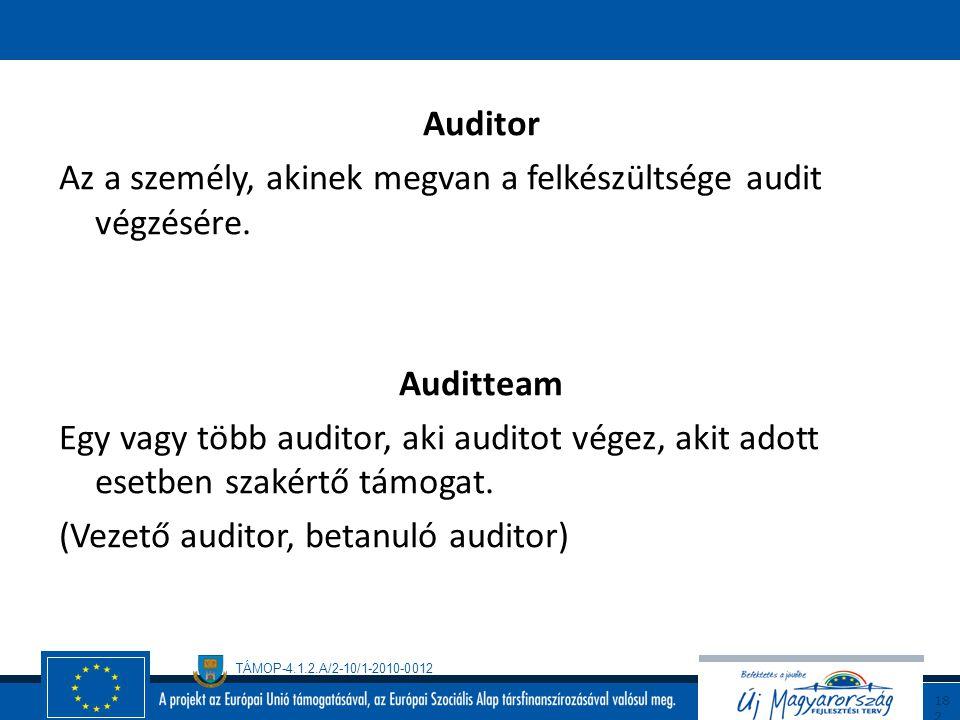 Auditor Az a személy, akinek megvan a felkészültsége audit végzésére. Auditteam.