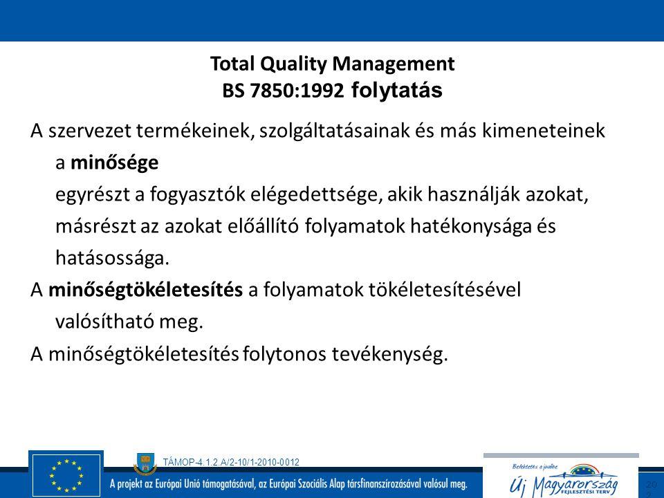Total Quality Management BS 7850:1992 folytatás