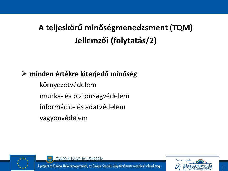 A teljeskörű minőségmenedzsment (TQM) Jellemzői (folytatás/2)