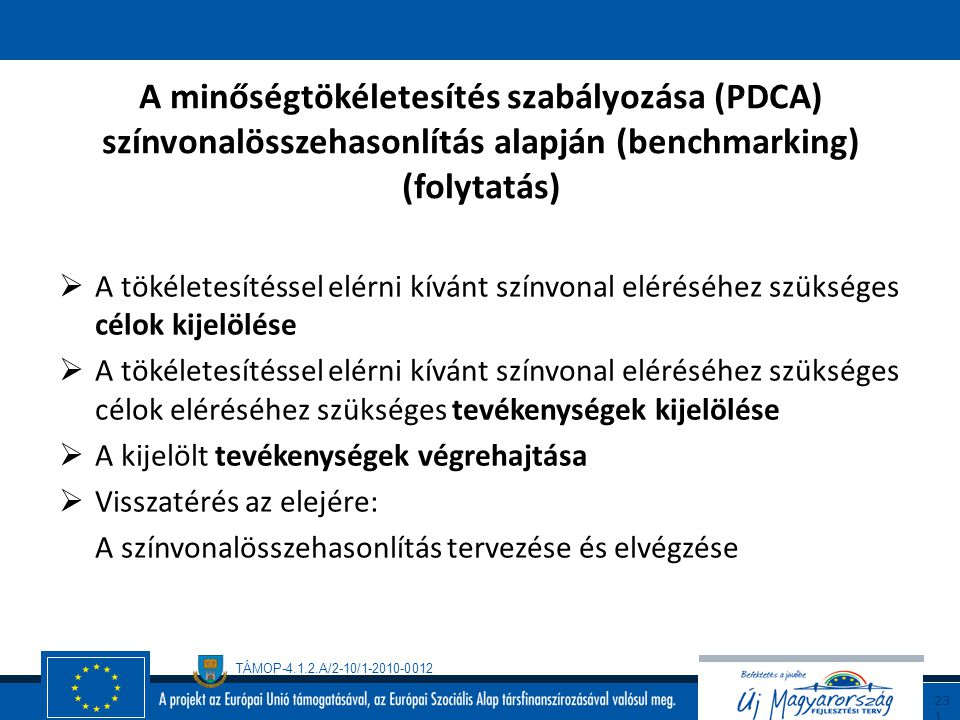 A minőségtökéletesítés szabályozása (PDCA) színvonalösszehasonlítás alapján (benchmarking) (folytatás)
