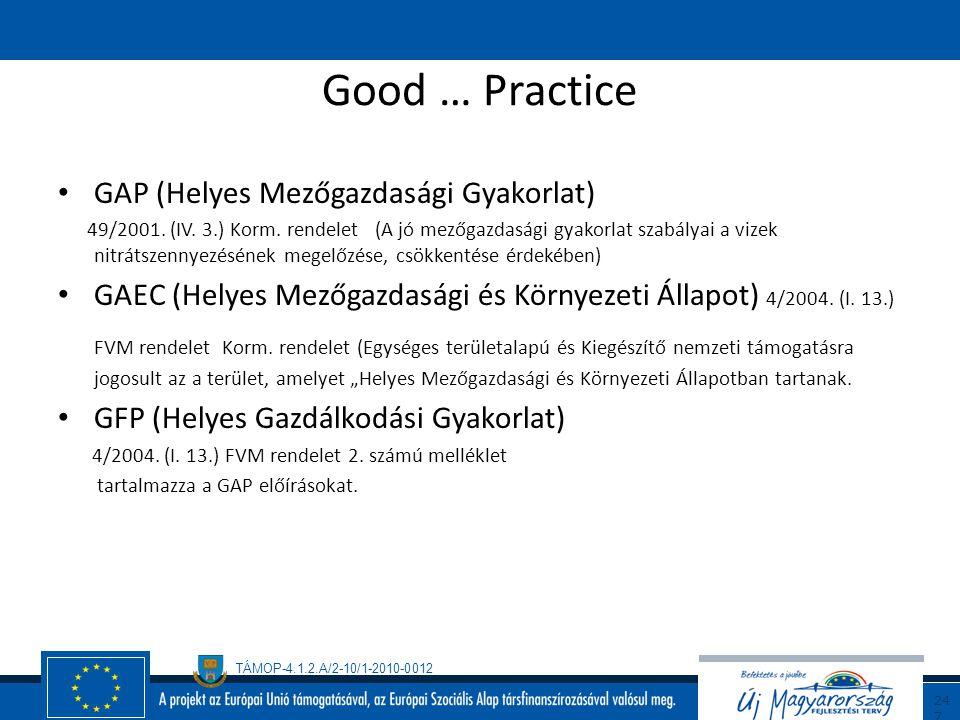 Good … Practice GAP (Helyes Mezőgazdasági Gyakorlat)