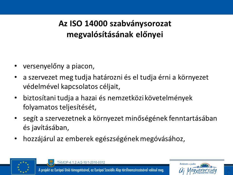 Az ISO 14000 szabványsorozat megvalósításának előnyei