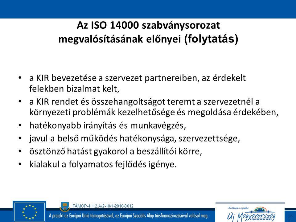 Az ISO 14000 szabványsorozat megvalósításának előnyei (folytatás)