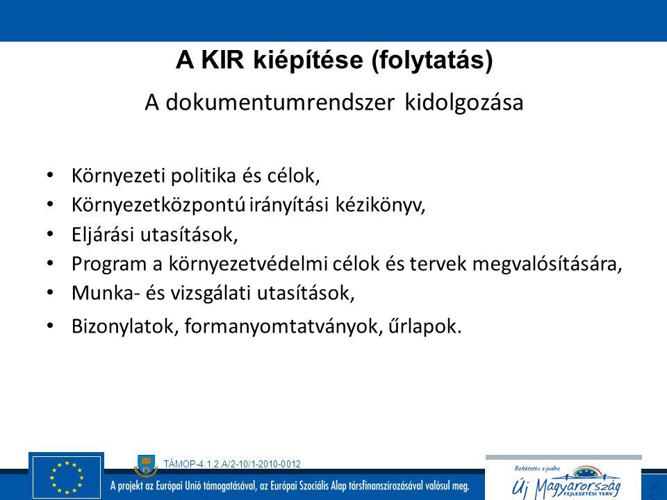 A KIR kiépítése (folytatás) A dokumentumrendszer kidolgozása