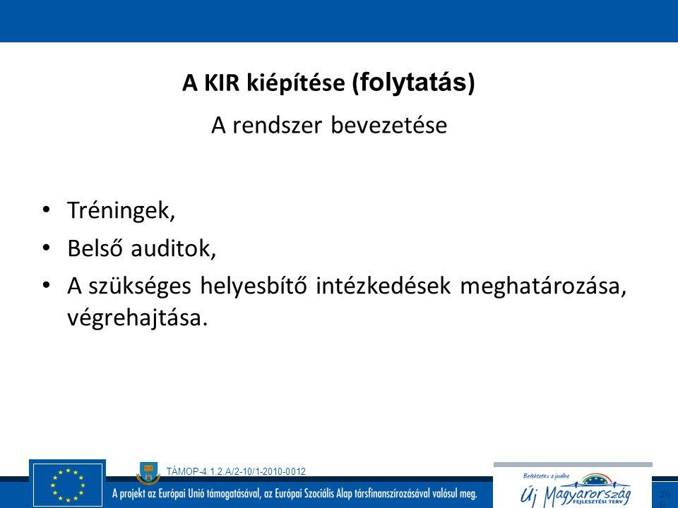 A KIR kiépítése (folytatás) A rendszer bevezetése