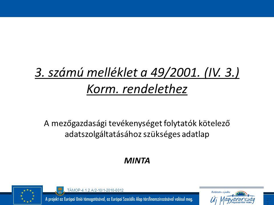 3. számú melléklet a 49/2001. (IV. 3.) Korm. rendelethez