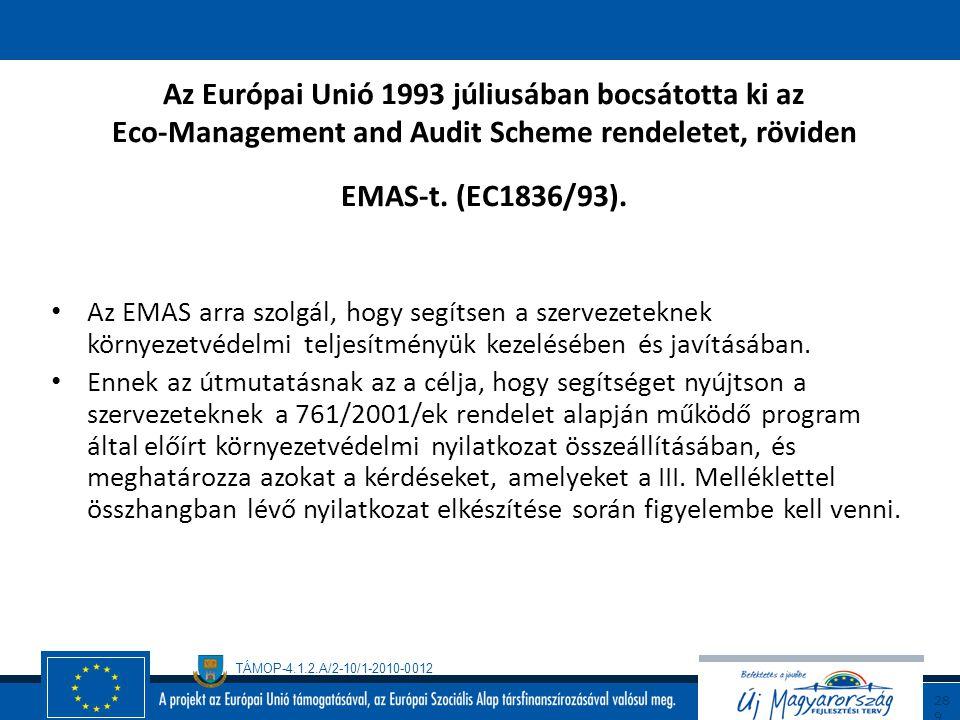 Az Európai Unió 1993 júliusában bocsátotta ki az Eco-Management and Audit Scheme rendeletet, röviden EMAS-t. (EC1836/93).
