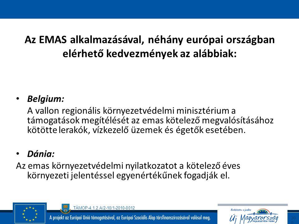 Az EMAS alkalmazásával, néhány európai országban elérhető kedvezmények az alábbiak:
