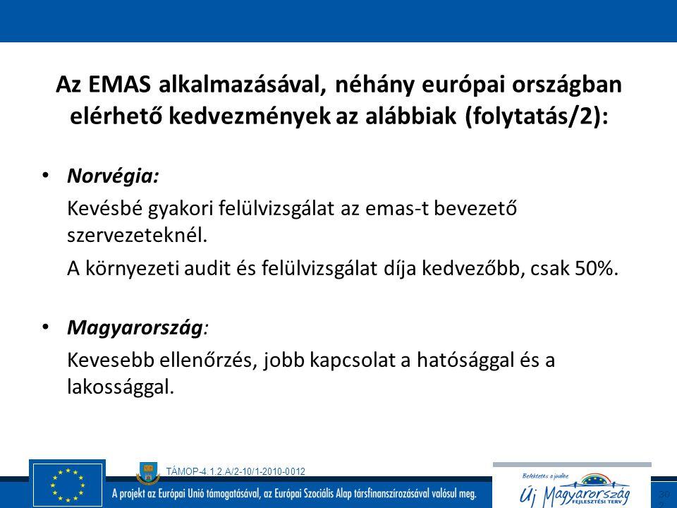 Az EMAS alkalmazásával, néhány európai országban elérhető kedvezmények az alábbiak (folytatás/2):
