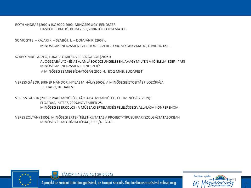 Róth András (2000): ISO 9000:2000 minőségügyi rendszer Dashöfer Kiadó, Budapest, 2000-től folyamatos SOMOGYI S.
