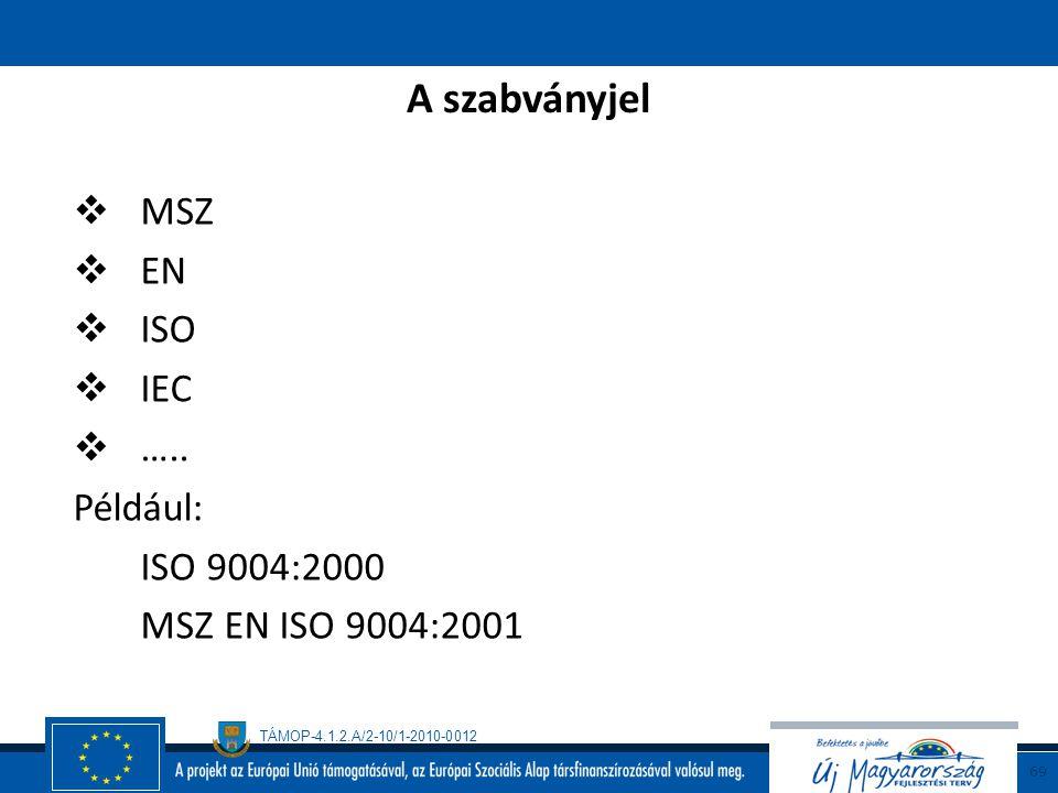 A szabványjel MSZ EN ISO IEC ….. Például: ISO 9004:2000