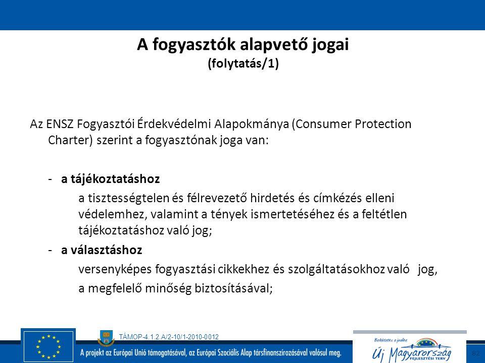 A fogyasztók alapvető jogai (folytatás/1)