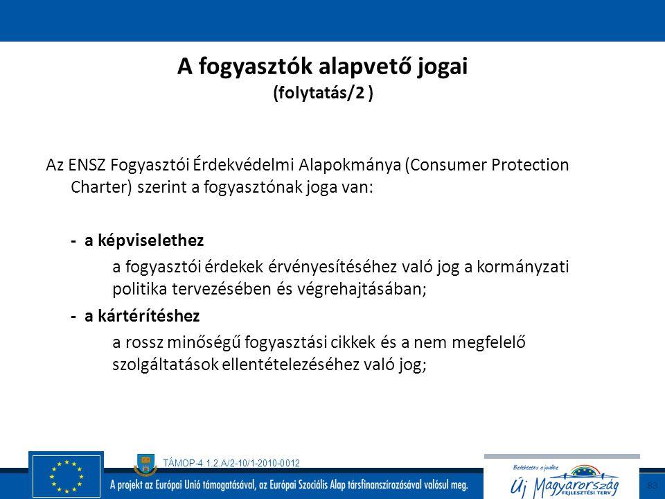 A fogyasztók alapvető jogai (folytatás/2 )