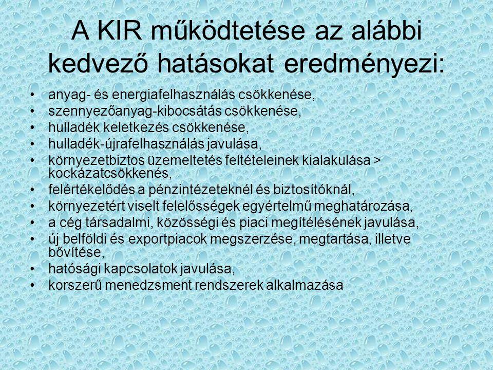 A KIR működtetése az alábbi kedvező hatásokat eredményezi:
