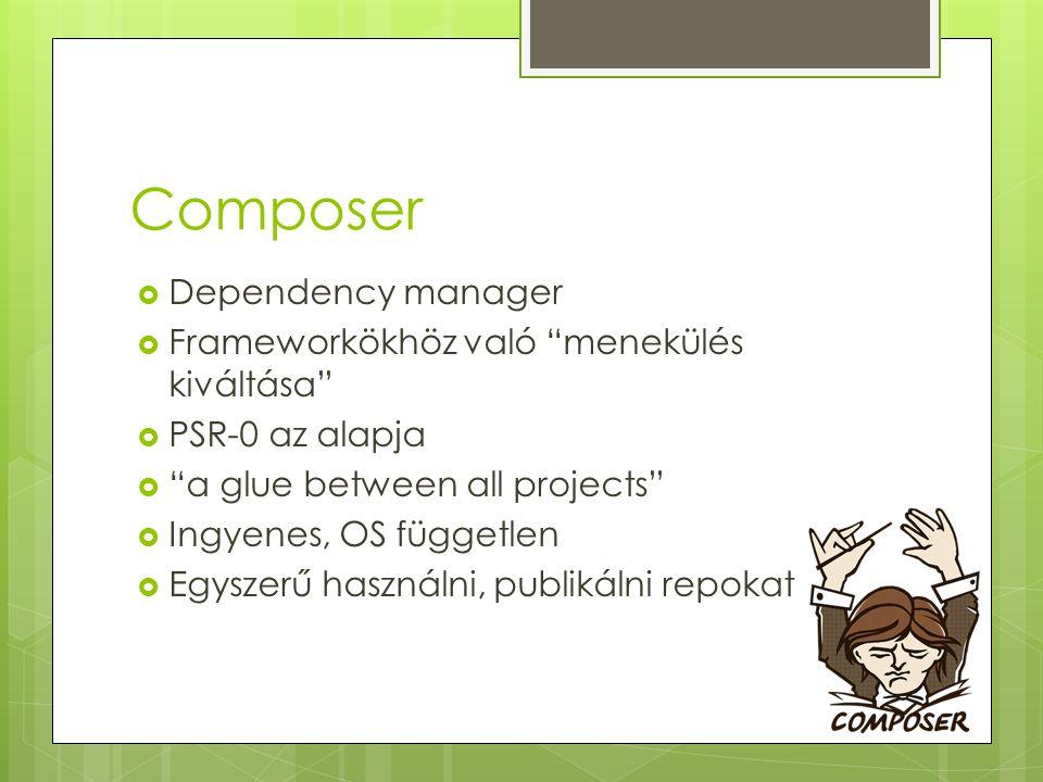 Composer Dependency manager Frameworkökhöz való menekülés kiváltása