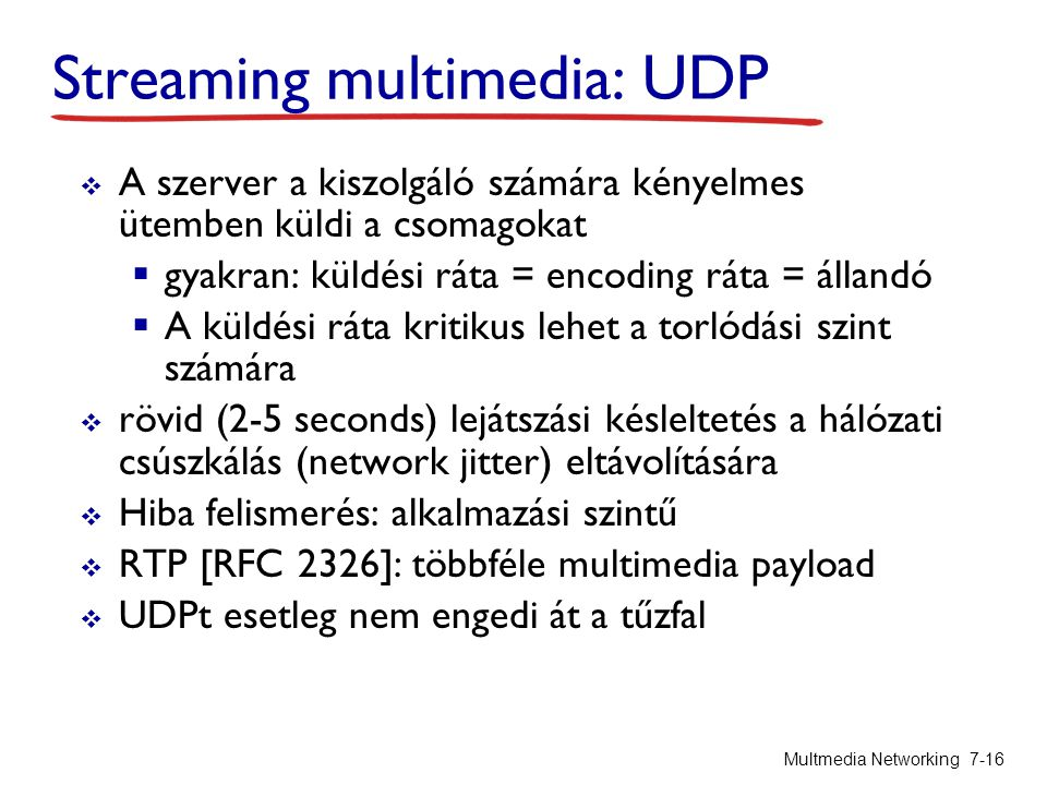 Streaming multimedia: UDP