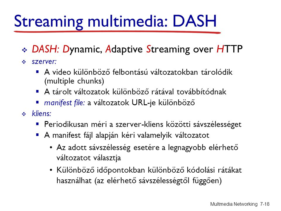 Streaming multimedia: DASH