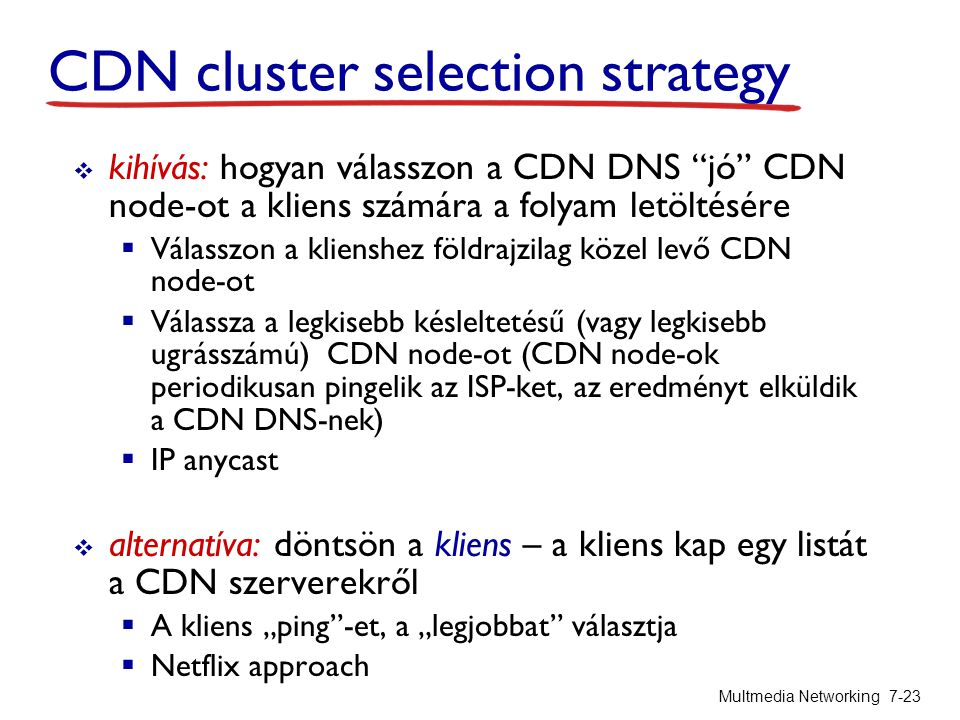 CDN cluster selection strategy